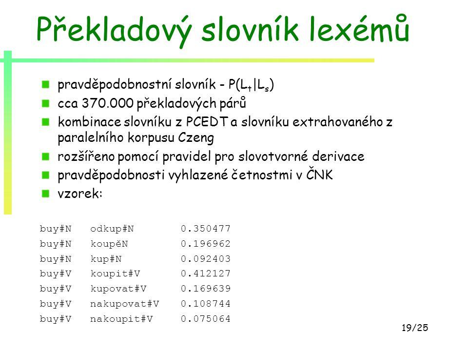19/25 Překladový slovník lexémů pravděpodobnostní slovník - P(L t |L s ) cca 370.000 překladových párů kombinace slovníku z PCEDT a slovníku extrahova