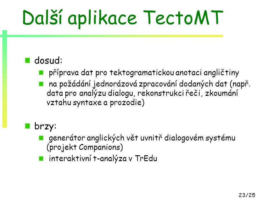 23/25 Další aplikace TectoMT dosud: příprava dat pro tektogramatickou anotaci angličtiny na požádání jednorázová zpracování dodaných dat (např. data p