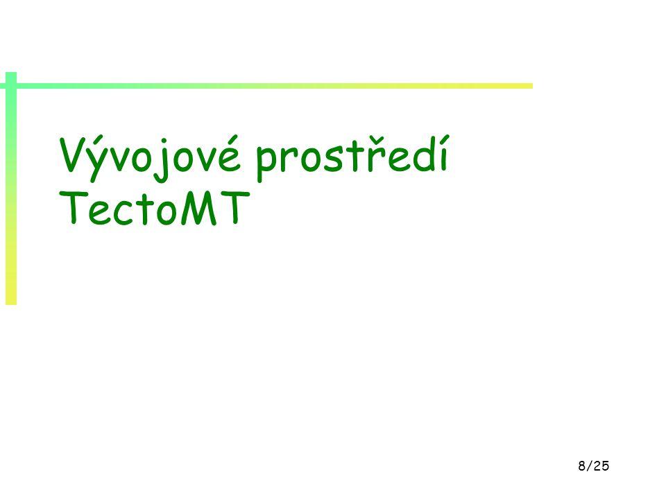19/25 Překladový slovník lexémů pravděpodobnostní slovník - P(L t  L s ) cca 370.000 překladových párů kombinace slovníku z PCEDT a slovníku extrahovaného z paralelního korpusu Czeng rozšířeno pomocí pravidel pro slovotvorné derivace pravděpodobnosti vyhlazené četnostmi v ČNK vzorek: buy#N odkup#N 0.350477 buy#N koupěN 0.196962 buy#N kup#N 0.092403 buy#V koupit#V 0.412127 buy#V kupovat#V 0.169639 buy#V nakupovat#V 0.108744 buy#V nakoupit#V 0.075064