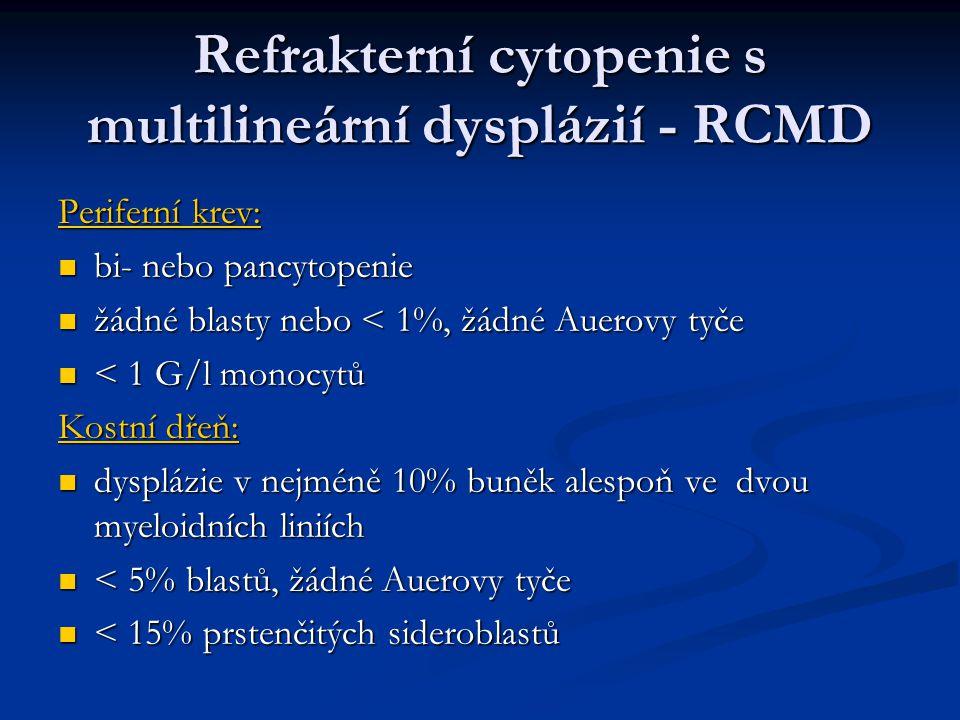 Refrakterní cytopenie s multilineární dysplázií - RCMD Periferní krev: bi- nebo pancytopenie bi- nebo pancytopenie žádné blasty nebo < 1%, žádné Auerovy tyče žádné blasty nebo < 1%, žádné Auerovy tyče < 1 G/l monocytů < 1 G/l monocytů Kostní dřeň: dysplázie v nejméně 10% buněk alespoň ve dvou myeloidních liniích dysplázie v nejméně 10% buněk alespoň ve dvou myeloidních liniích < 5% blastů, žádné Auerovy tyče < 5% blastů, žádné Auerovy tyče < 15% prstenčitých sideroblastů < 15% prstenčitých sideroblastů