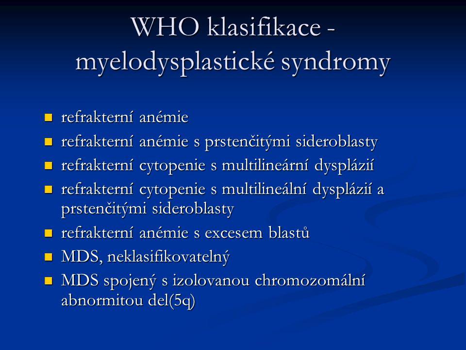 WHO klasifikace - myelodysplastické syndromy refrakterní anémie refrakterní anémie refrakterní anémie s prstenčitými sideroblasty refrakterní anémie s prstenčitými sideroblasty refrakterní cytopenie s multilineární dysplázií refrakterní cytopenie s multilineární dysplázií refrakterní cytopenie s multilineální dysplázií a prstenčitými sideroblasty refrakterní cytopenie s multilineální dysplázií a prstenčitými sideroblasty refrakterní anémie s excesem blastů refrakterní anémie s excesem blastů MDS, neklasifikovatelný MDS, neklasifikovatelný MDS spojený s izolovanou chromozomální abnormitou del(5q) MDS spojený s izolovanou chromozomální abnormitou del(5q)