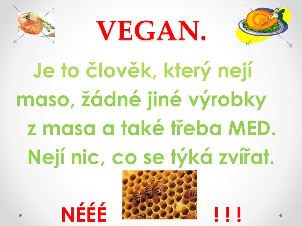 VEGAN. Je to člověk, který nejí maso, žádné jiné výrobky z masa a také třeba MED.