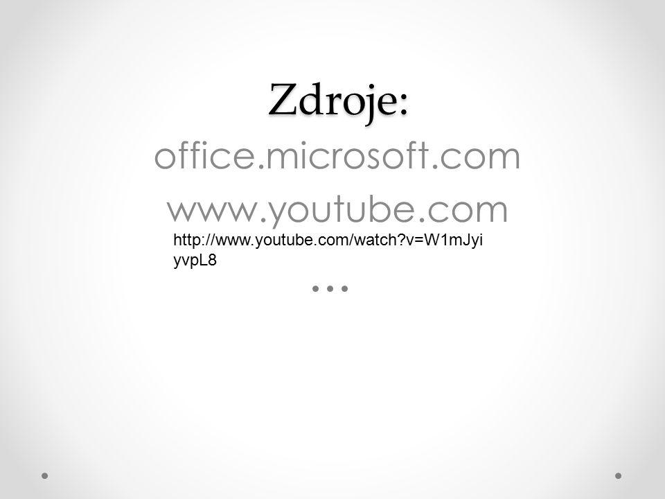 Zdroje: Zdroje: office.microsoft.com www.youtube.com http://www.youtube.com/watch?v=W1mJyi yvpL8