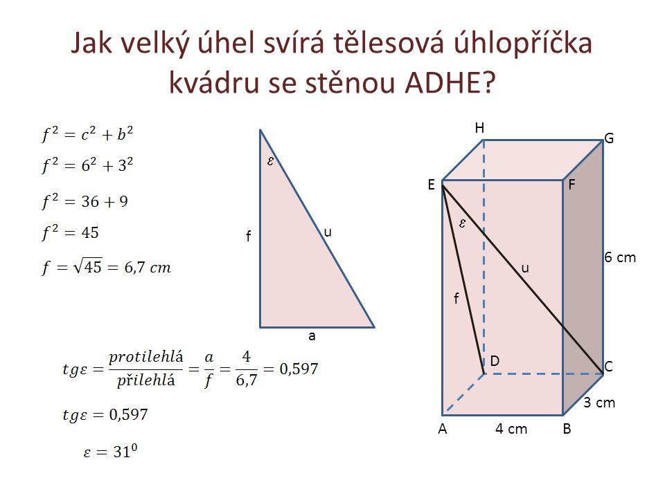 Jak velký úhel svírá tělesová úhlopříčka kvádru se stěnou ADHE? AB C D EF G H f u 6 cm 4 cm 3 cm  f u  a