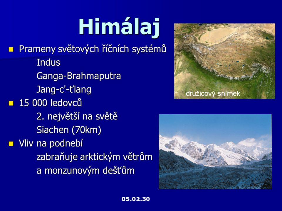 Himálaj Prameny světových říčních systémů Prameny světových říčních systémůIndusGanga-BrahmaputraJang-c'-ťiang 15 000 ledovců 15 000 ledovců 2. největ