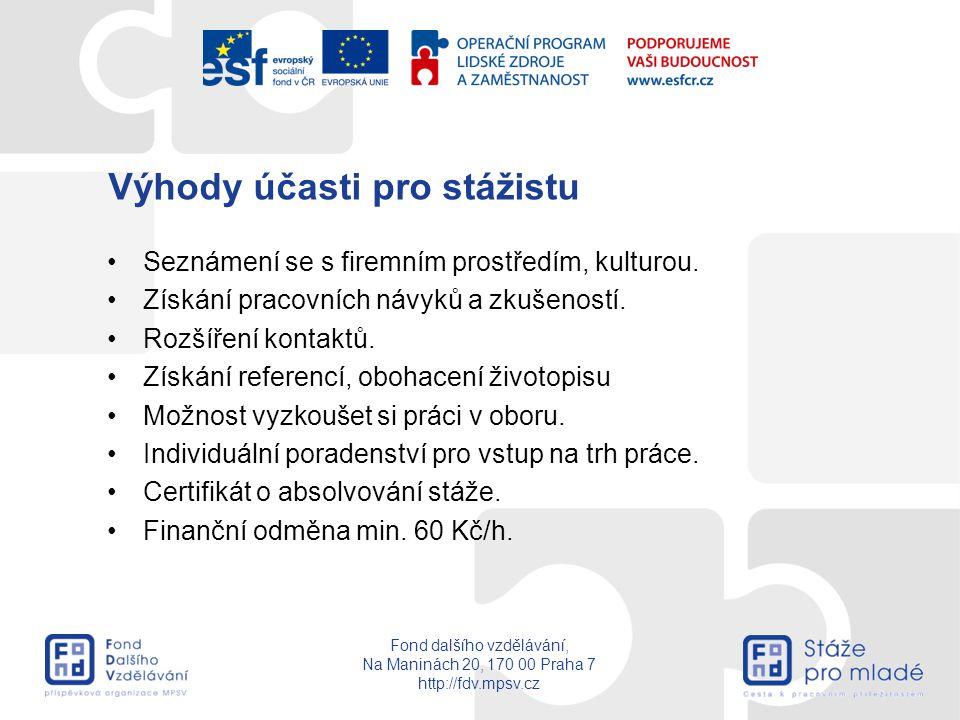 Fond dalšího vzdělávání, Na Maninách 20, 170 00 Praha 7 http://fdv.mpsv.cz Výhody účasti pro stážistu Seznámení se s firemním prostředím, kulturou. Zí