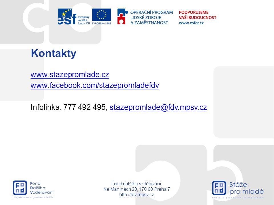 Fond dalšího vzdělávání, Na Maninách 20, 170 00 Praha 7 http://fdv.mpsv.cz Kontakty www.stazepromlade.cz www.facebook.com/stazepromladefdv Infolinka: