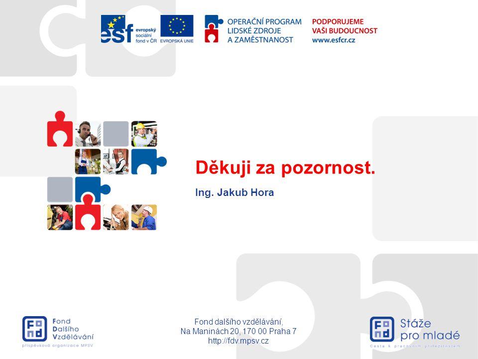 Fond dalšího vzdělávání, Na Maninách 20, 170 00 Praha 7 http://fdv.mpsv.cz Ing. Jakub Hora Děkuji za pozornost.