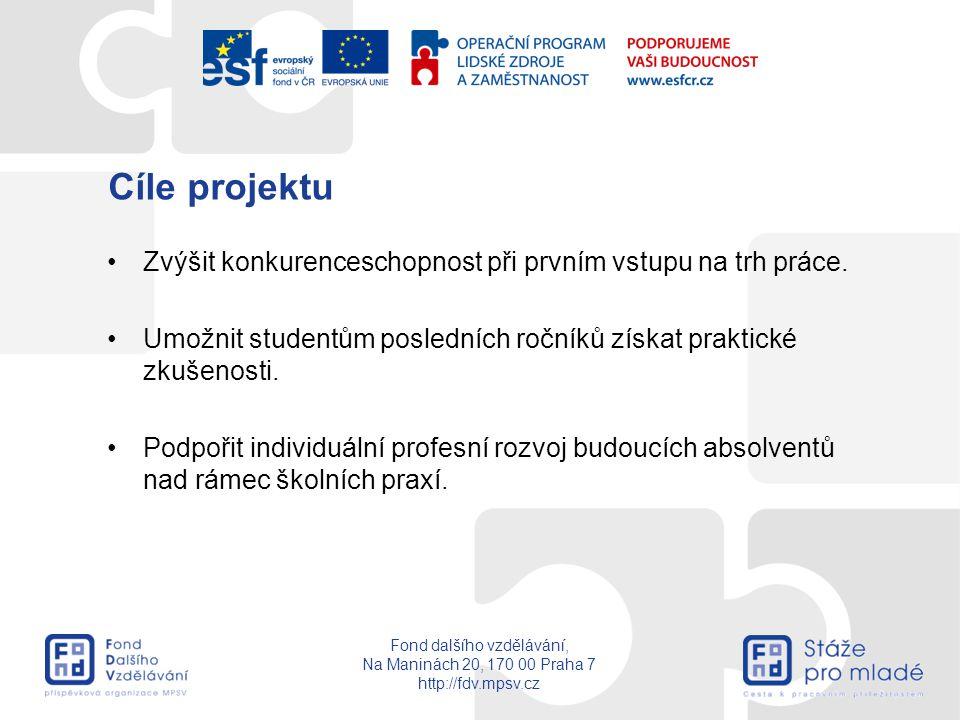 Fond dalšího vzdělávání, Na Maninách 20, 170 00 Praha 7 http://fdv.mpsv.cz Cíle projektu Zvýšit konkurenceschopnost při prvním vstupu na trh práce. Um