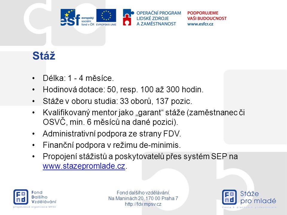 Fond dalšího vzdělávání, Na Maninách 20, 170 00 Praha 7 http://fdv.mpsv.cz Stáž Délka: 1 - 4 měsíce. Hodinová dotace: 50, resp. 100 až 300 hodin. Stáž