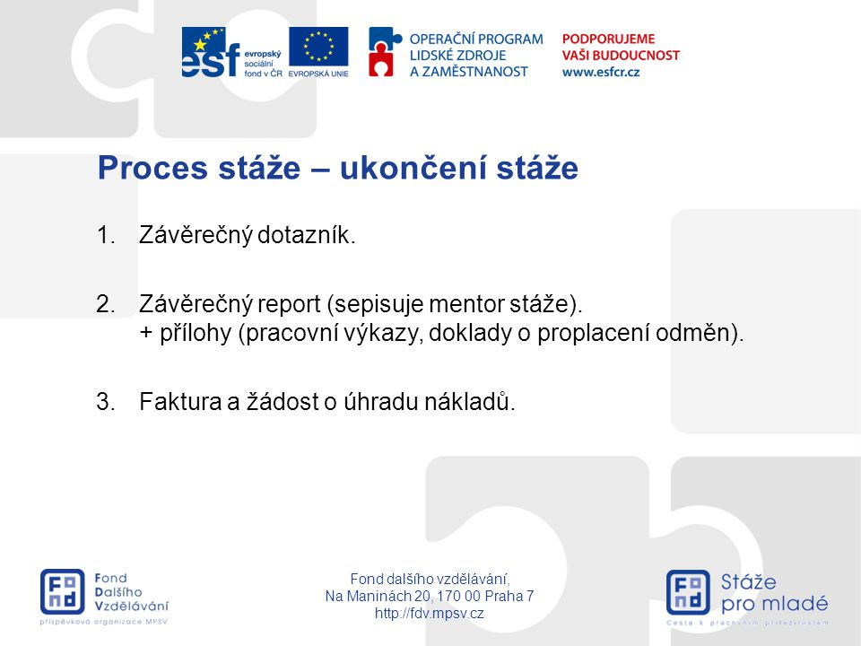 Fond dalšího vzdělávání, Na Maninách 20, 170 00 Praha 7 http://fdv.mpsv.cz Proces stáže – ukončení stáže 1.Závěrečný dotazník. 2.Závěrečný report (sep