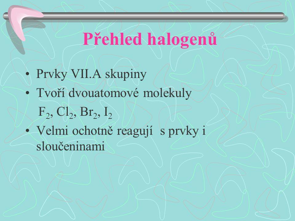 Přehled halogenů Prvky VII.A skupiny Tvoří dvouatomové molekuly F 2, Cl 2, Br 2, I2I2 Velmi ochotně reagují s prvky i sloučeninami
