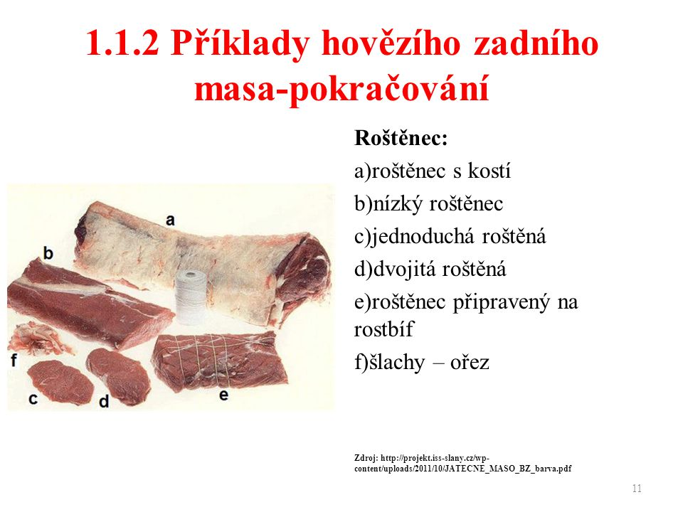 1.1.2 Příklady hovězího zadního masa-pokračování Roštěnec: a)roštěnec s kostí b)nízký roštěnec c)jednoduchá roštěná d)dvojitá roštěná e)roštěnec připravený na rostbíf f)šlachy – ořez Zdroj: http://projekt.iss-slany.cz/wp- content/uploads/2011/10/JATECNE_MASO_BZ_barva.pdf 11