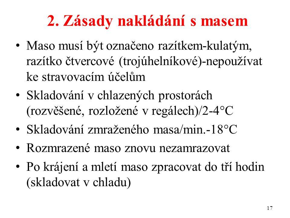 2. Zásady nakládání s masem Maso musí být označeno razítkem-kulatým, razítko čtvercové (trojúhelníkové)-nepoužívat ke stravovacím účelům Skladování v