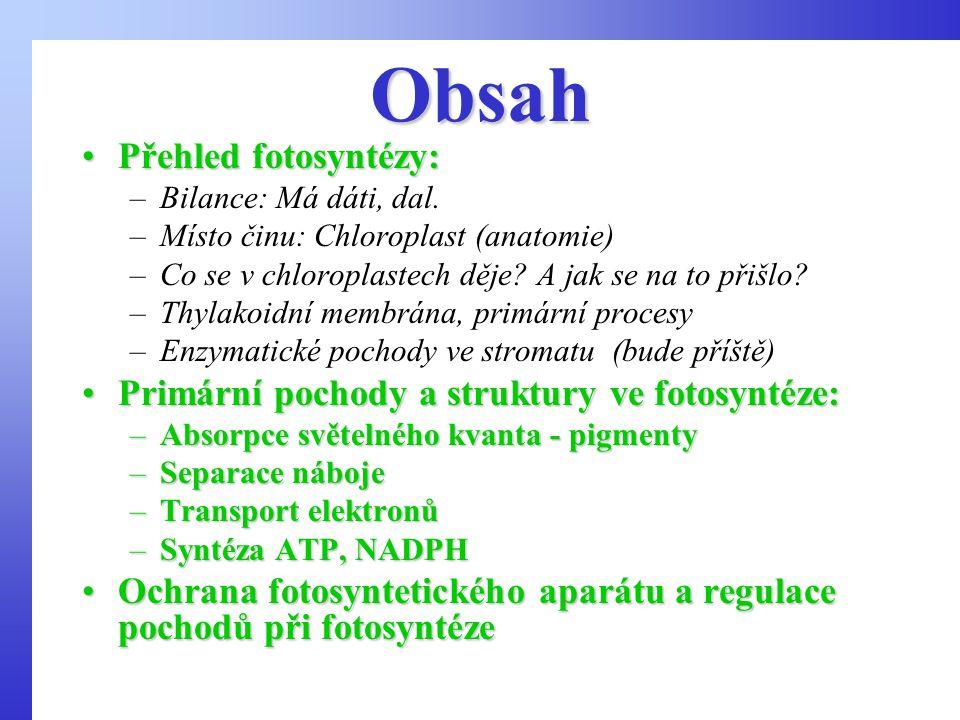 Obsah Přehled fotosyntézy:Přehled fotosyntézy: –Bilance: Má dáti, dal.