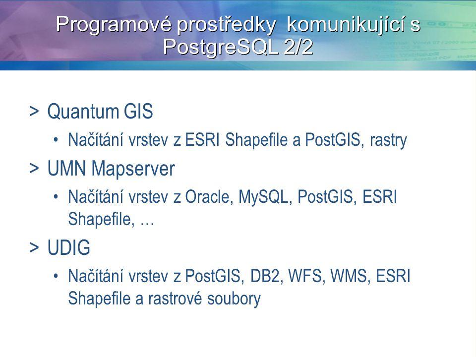 Programové prostředky komunikující s PostgreSQL 2/2 >Quantum GIS Načítání vrstev z ESRI Shapefile a PostGIS, rastry >UMN Mapserver Načítání vrstev z Oracle, MySQL, PostGIS, ESRI Shapefile, … >UDIG Načítání vrstev z PostGIS, DB2, WFS, WMS, ESRI Shapefile a rastrové soubory