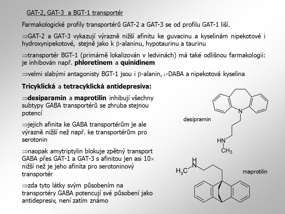 GAT-2, GAT-3 a BGT-1 transportér Farmakologické profily transportérů GAT-2 a GAT-3 se od profilu GAT-1 liší.  GAT-2 a GAT-3 vykazují výrazně nižší af