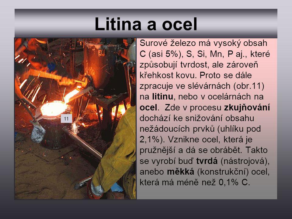 Litina a ocel Surové železo má vysoký obsah C (asi 5%), S, Si, Mn, P aj., které způsobují tvrdost, ale zároveň křehkost kovu. Proto se dále zpracuje v