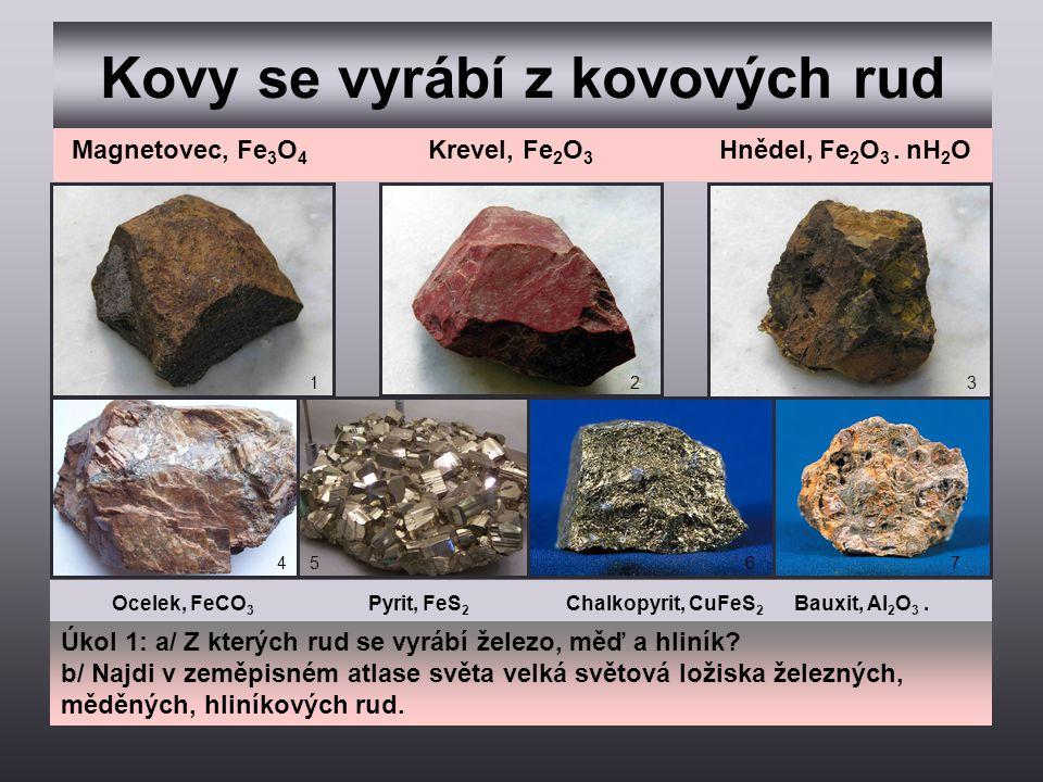 Kovy se vyrábí z kovových rud 123 457 Magnetovec, Fe 3 O 4 Krevel, Fe 2 O 3 Hnědel, Fe 2 O 3. nH 2 O Ocelek, FeCO 3 Pyrit, FeS 2 Chalkopyrit, CuFeS 2