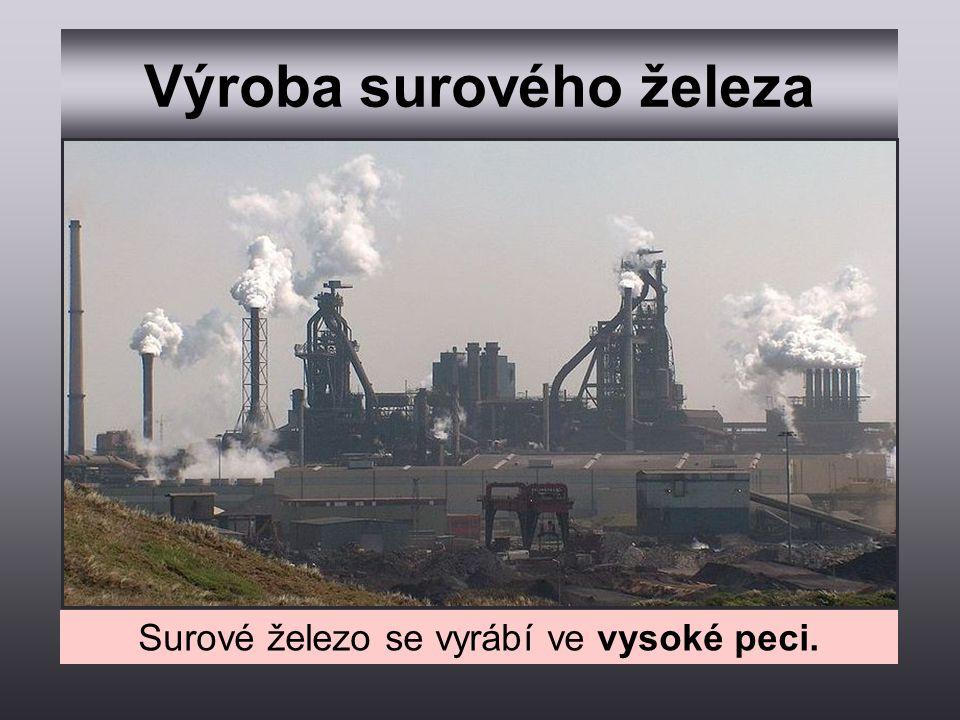 Výroba surového železa Surové železo se vyrábí ve vysoké peci.