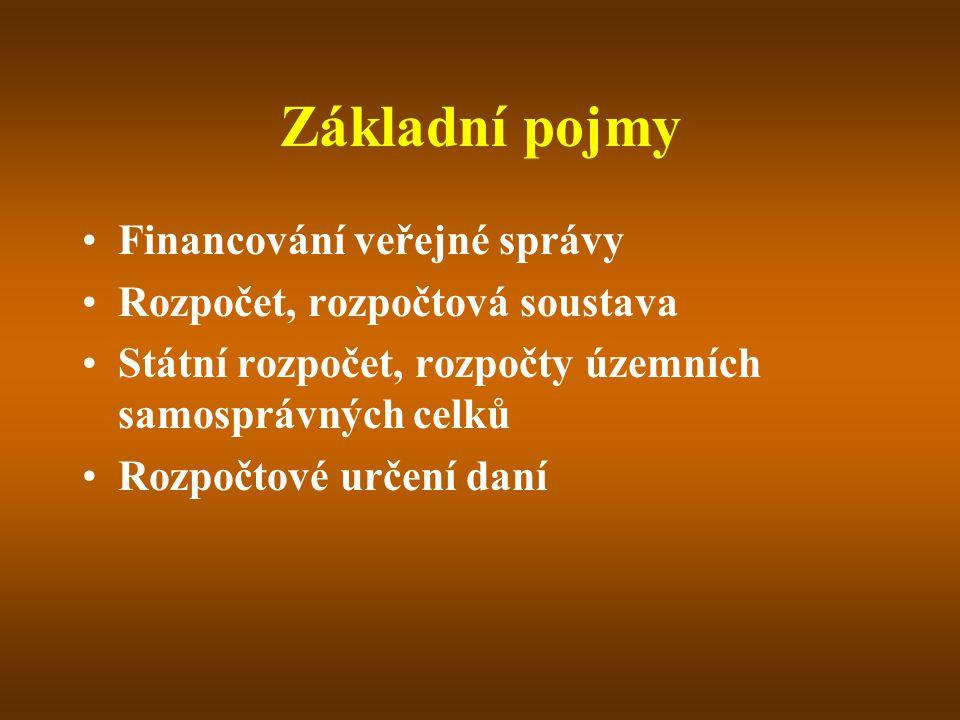 Financování veřejné správy = zabezpečení dostatečného množství finančních prostředků na činnost veřejné správy a k plnění jejích úkolů VS = státní správa + samospráva Spojený model územní veřejné správy Rozpočet – obecné pojetí Ekonomický, právní, politický aspekt Toková veličina 1.Peněžní fond 2.Bilance 3.Finanční plán 4.Nástroj finanční politiky a nástroj řízení