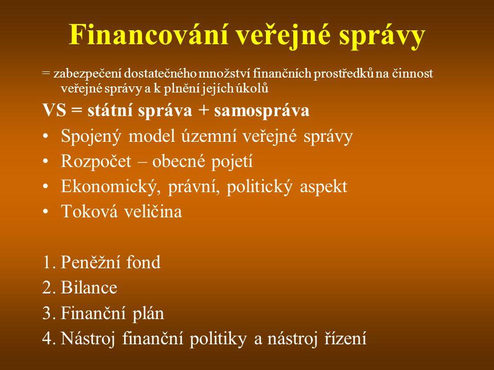 Financování veřejné správy = zabezpečení dostatečného množství finančních prostředků na činnost veřejné správy a k plnění jejích úkolů VS = státní spr
