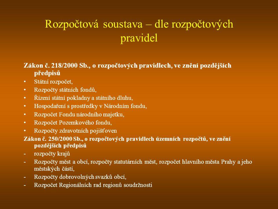 Rozpočtová soustava – dle rozpočtových pravidel Zákon č.
