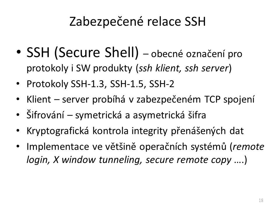 Zabezpečené relace SSH SSH (Secure Shell) – obecné označení pro protokoly i SW produkty (ssh klient, ssh server) Protokoly SSH-1.3, SSH-1.5, SSH-2 Kli