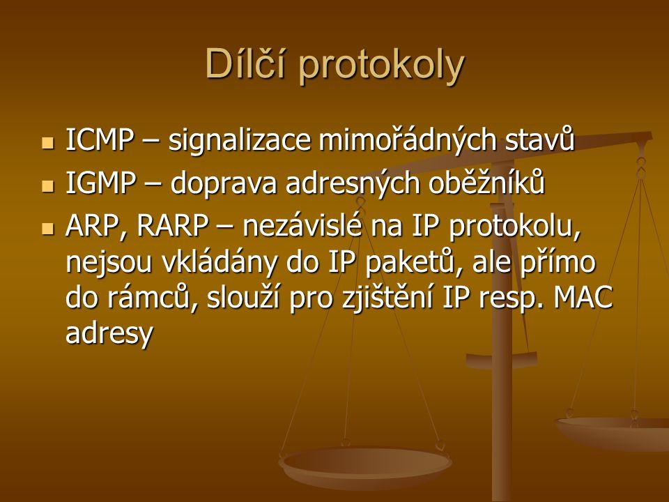Dílčí protokoly ICMP – signalizace mimořádných stavů ICMP – signalizace mimořádných stavů IGMP – doprava adresných oběžníků IGMP – doprava adresných oběžníků ARP, RARP – nezávislé na IP protokolu, nejsou vkládány do IP paketů, ale přímo do rámců, slouží pro zjištění IP resp.