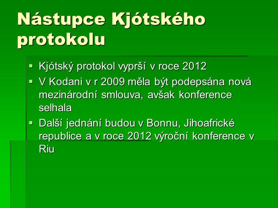 Nástupce Kjótského protokolu  Kjótský protokol vyprší v roce 2012  V Kodani v r 2009 měla být podepsána nová mezinárodní smlouva, avšak konference selhala  Další jednání budou v Bonnu, Jihoafrické republice a v roce 2012 výroční konference v Riu