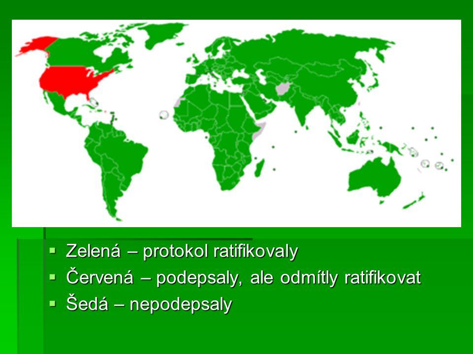  Zelená – protokol ratifikovaly  Červená – podepsaly, ale odmítly ratifikovat  Šedá – nepodepsaly