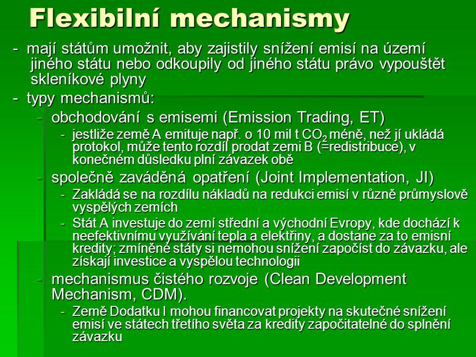 Flexibilní mechanismy - mají státům umožnit, aby zajistily snížení emisí na území jiného státu nebo odkoupily od jiného státu právo vypouštět skleníkové plyny - typy mechanismů: -obchodování s emisemi (Emission Trading, ET) -jestliže země A emituje např.