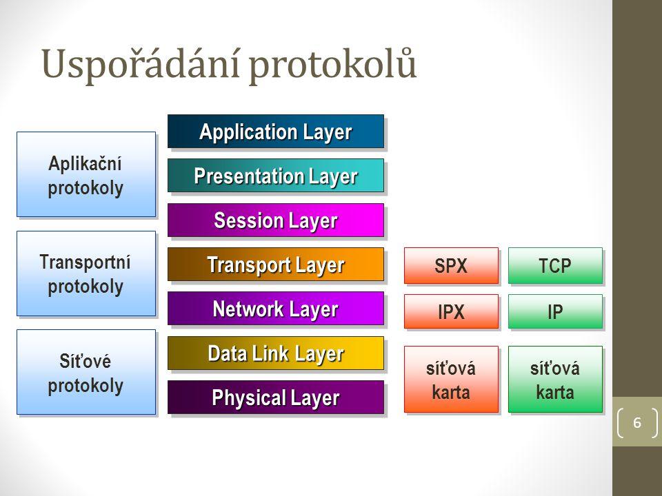7 IPX/SPX SPX nadřazený protokolu IPX pracuje na úrovní transportní vrstvy ISO/OSI vytváří z datagramů segmenty kontroluje správnost přenesených dat (při chybě si vyžádá opakování přenosu) spojově orientovaný protokol IPX pracuje na úrovní síťové vrstvy ISO/OSI (podobný protokolu IP) rozděluje segmenty na packety a zajišťuje jejich směrování v síti pracuje s logickými IPX adresami uzlů nekontroluje správnost přenosu nespojově orientovaný protokol