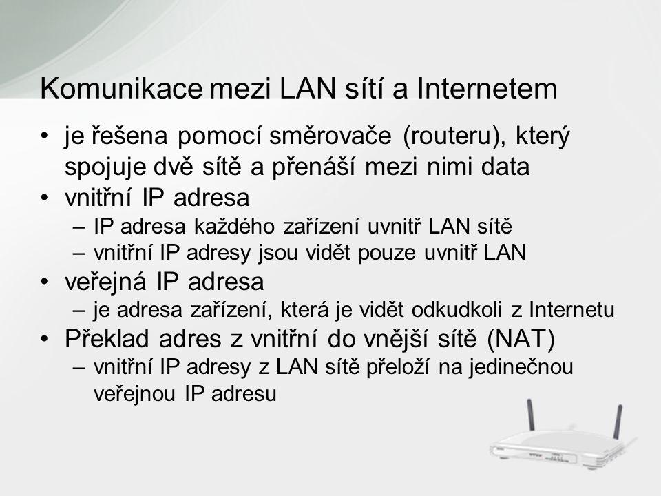 je řešena pomocí směrovače (routeru), který spojuje dvě sítě a přenáší mezi nimi data vnitřní IP adresa –IP adresa každého zařízení uvnitř LAN sítě –vnitřní IP adresy jsou vidět pouze uvnitř LAN veřejná IP adresa –je adresa zařízení, která je vidět odkudkoli z Internetu Překlad adres z vnitřní do vnější sítě (NAT) –vnitřní IP adresy z LAN sítě přeloží na jedinečnou veřejnou IP adresu Komunikace mezi LAN sítí a Internetem