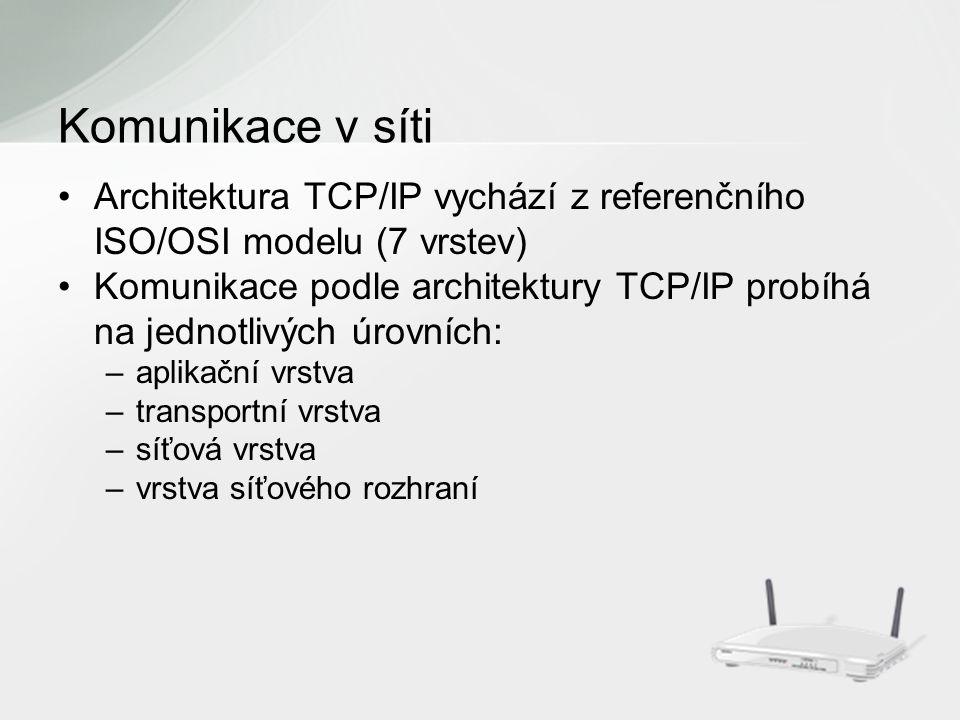 Architektura TCP/IP vychází z referenčního ISO/OSI modelu (7 vrstev) Komunikace podle architektury TCP/IP probíhá na jednotlivých úrovních: –aplikační vrstva –transportní vrstva –síťová vrstva –vrstva síťového rozhraní Komunikace v síti