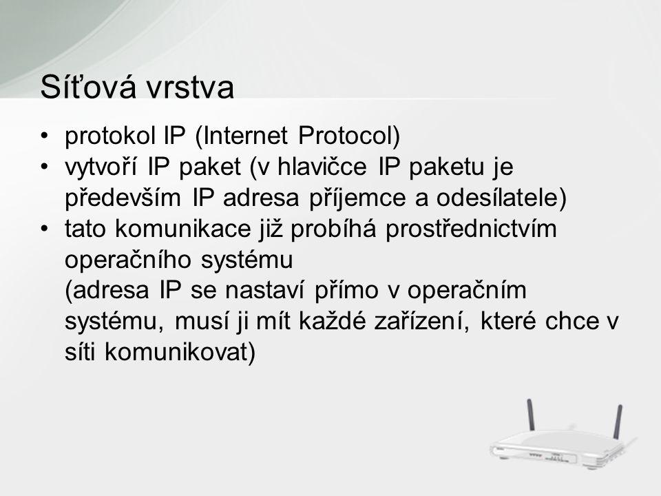 protokol IP (Internet Protocol) vytvoří IP paket (v hlavičce IP paketu je především IP adresa příjemce a odesílatele) tato komunikace již probíhá prostřednictvím operačního systému (adresa IP se nastaví přímo v operačním systému, musí ji mít každé zařízení, které chce v síti komunikovat) Síťová vrstva