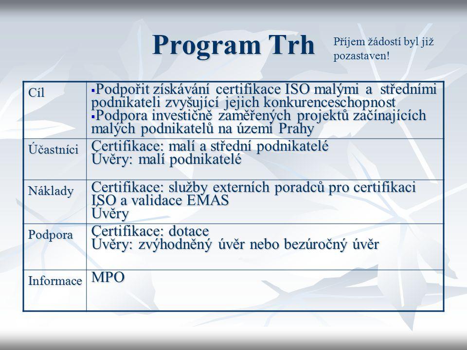 Program Trh Cíl  Podpořit získávání certifikace ISO malými a středními podnikateli zvyšující jejich konkurenceschopnost  Podpora investičně zaměřený