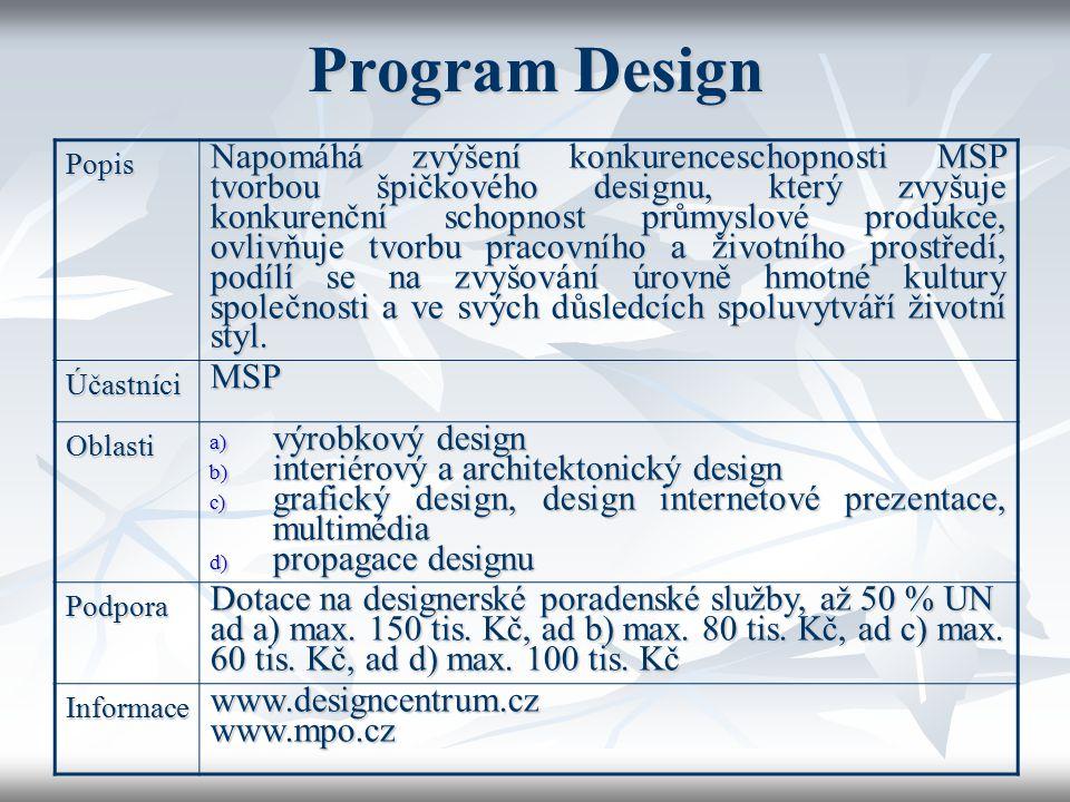 Program Design Popis Napomáhá zvýšení konkurenceschopnosti MSP tvorbou špičkového designu, který zvyšuje konkurenční schopnost průmyslové produkce, ov