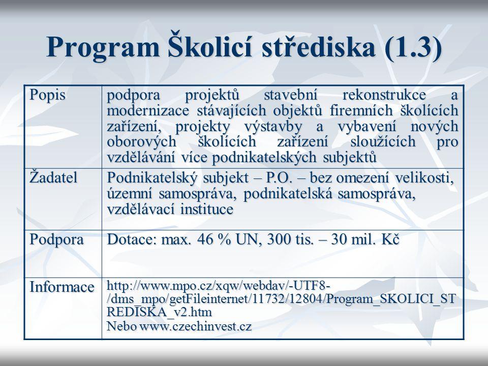 Program Školicí střediska (1.3) Popis podpora projektů stavební rekonstrukce a modernizace stávajících objektů firemních školících zařízení, projekty