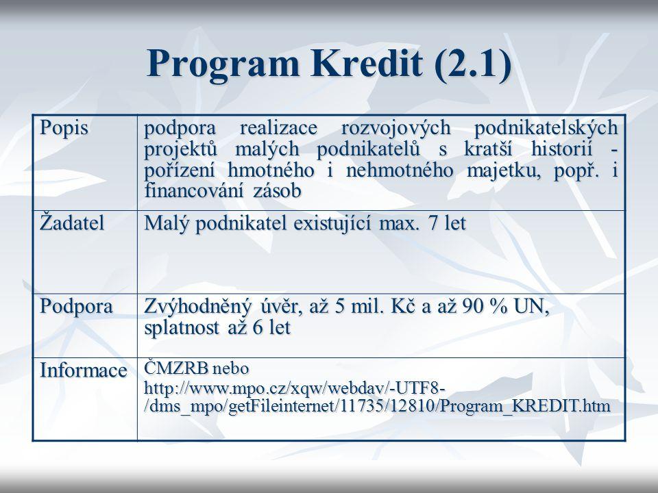 Program Kredit (2.1) Popis podpora realizace rozvojových podnikatelských projektů malých podnikatelů s kratší historií - pořízení hmotného i nehmotnéh