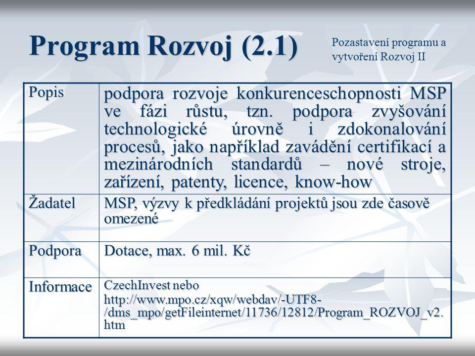 Program Rozvoj (2.1) Popis podpora rozvoje konkurenceschopnosti MSP ve fázi růstu, tzn. podpora zvyšování technologické úrovně i zdokonalování procesů