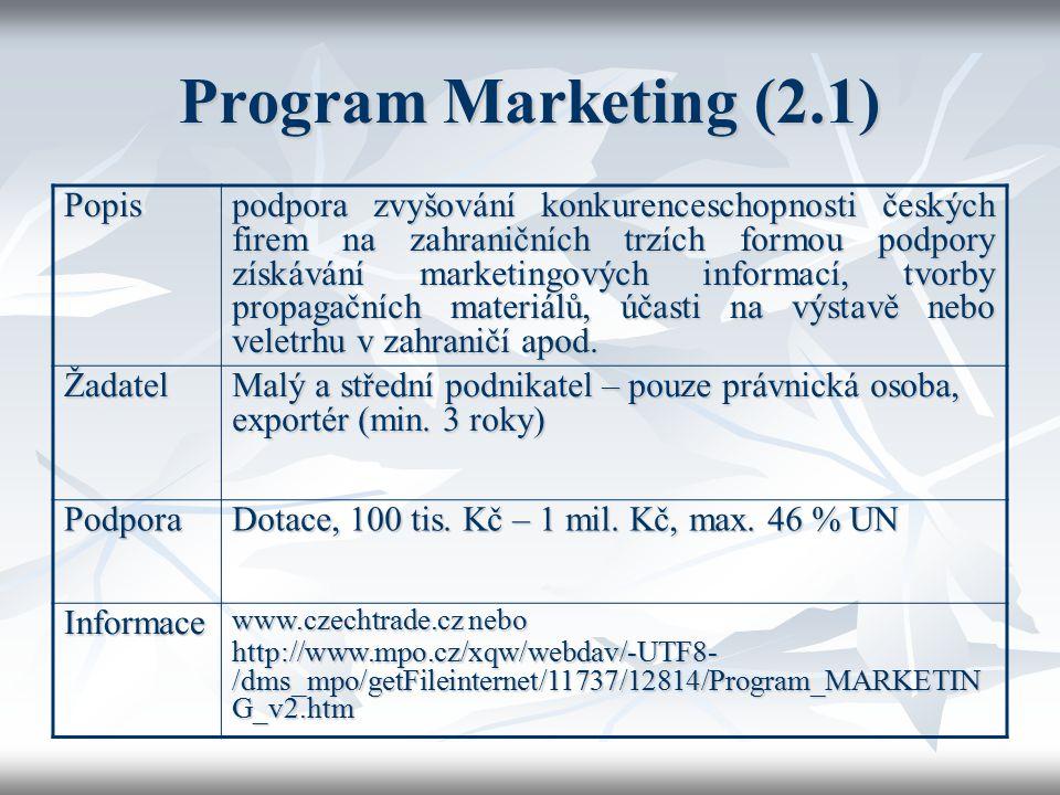 Program Marketing (2.1) Popis podpora zvyšování konkurenceschopnosti českých firem na zahraničních trzích formou podpory získávání marketingových info