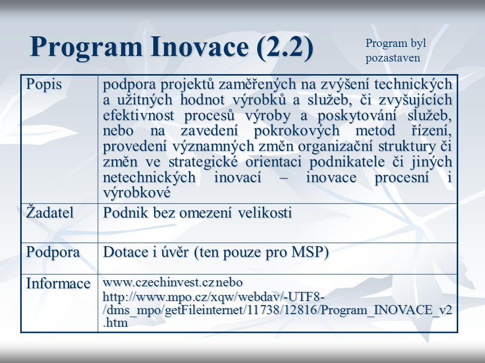 Program Inovace (2.2) Popis podpora projektů zaměřených na zvýšení technických a užitných hodnot výrobků a služeb, či zvyšujících efektivnost procesů