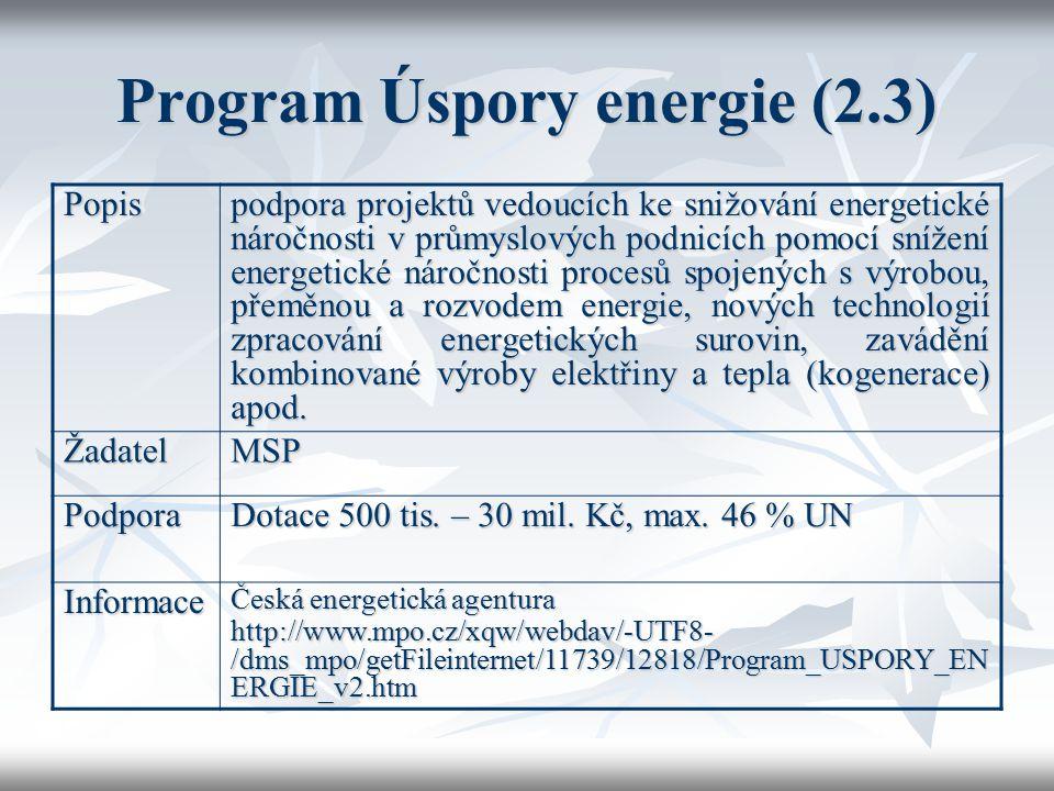 Program Úspory energie (2.3) Popis podpora projektů vedoucích ke snižování energetické náročnosti v průmyslových podnicích pomocí snížení energetické