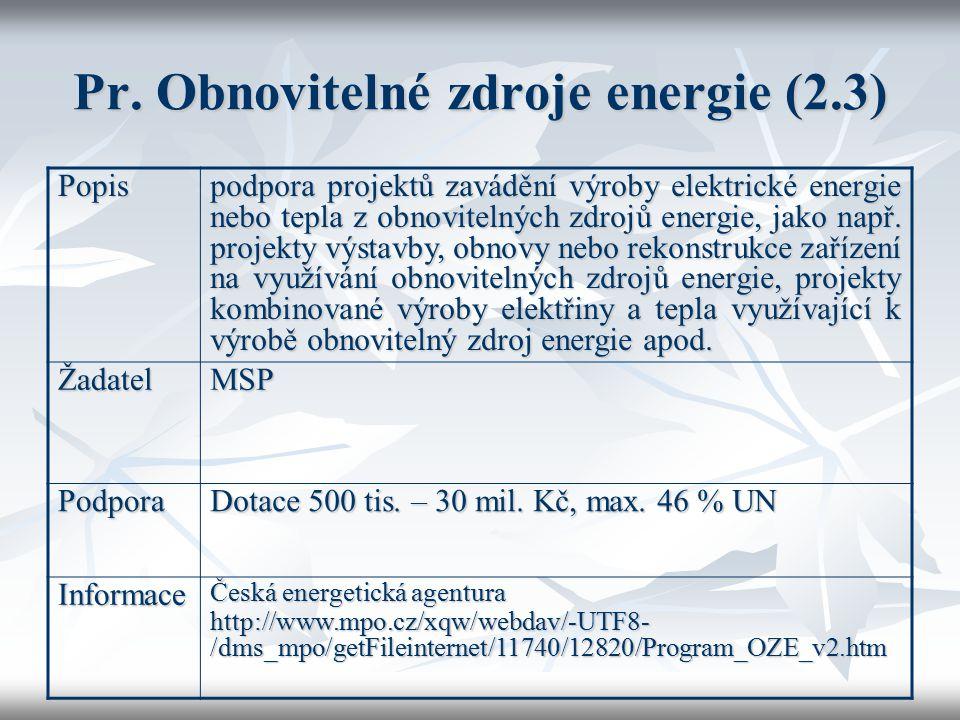 Pr. Obnovitelné zdroje energie (2.3) Popis podpora projektů zavádění výroby elektrické energie nebo tepla z obnovitelných zdrojů energie, jako např. p