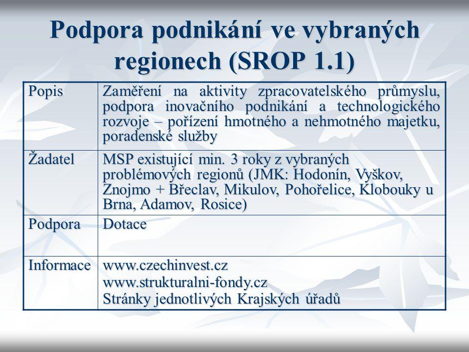 Podpora podnikání ve vybraných regionech (SROP 1.1) Popis Zaměření na aktivity zpracovatelského průmyslu, podpora inovačního podnikání a technologické