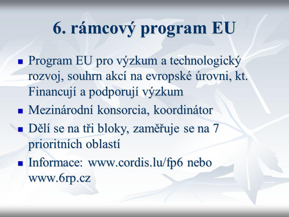 6. rámcový program EU Program EU pro výzkum a technologický rozvoj, souhrn akcí na evropské úrovni, kt. Financují a podporují výzkum Program EU pro vý