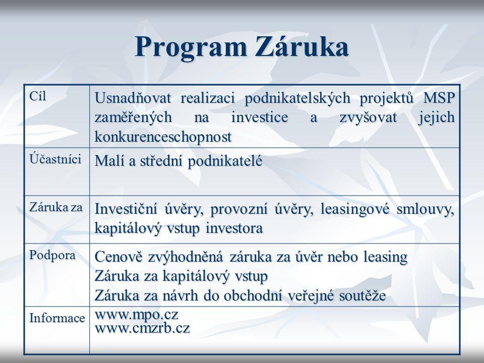 Program Záruka Cíl Usnadňovat realizaci podnikatelských projektů MSP zaměřených na investice a zvyšovat jejich konkurenceschopnost Účastníci Malí a st