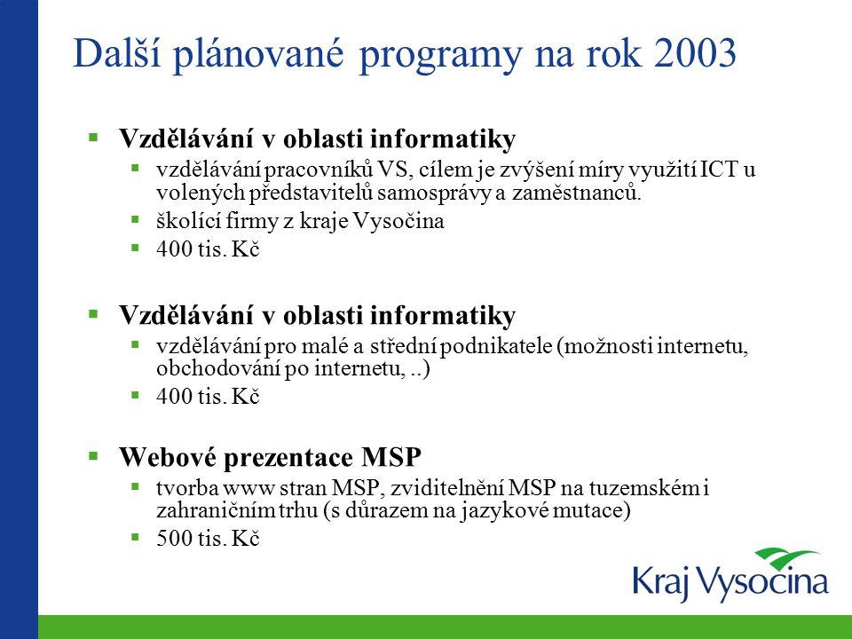 Další plánované programy na rok 2003  Vzdělávání v oblasti informatiky  vzdělávání pracovníků VS, cílem je zvýšení míry využití ICT u volených představitelů samosprávy a zaměstnanců.