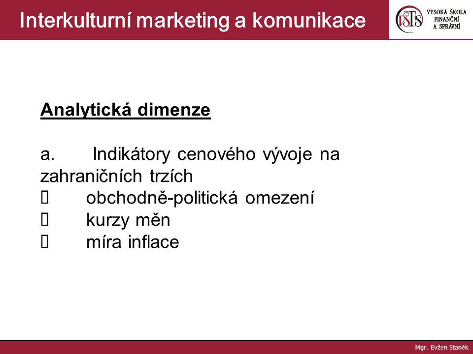 Mgr. Evžen Staněk Interkulturní marketing a komunikace MEZINÁRODNÍ CENOVÁ STRATEGIE